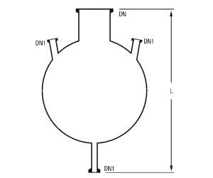 HREE NECK BOTTOM OUTLET SPHERICAL VESSELS